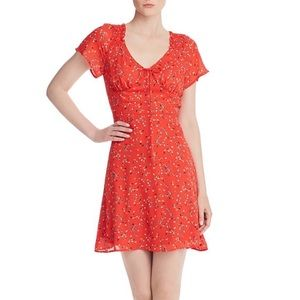 NWT - AQUA Ditsy Floral Mini Dress - Bright Red